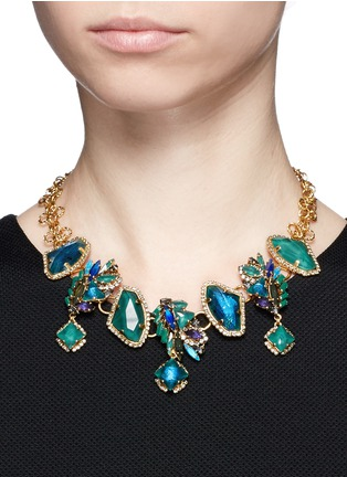 Figure View - Click To Enlarge - Erickson Beamon - 'St. Moritz' 24k gold plated Swarovski crystal necklace