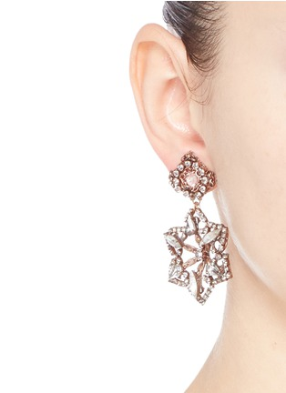 Figure View - Click To Enlarge - Erickson Beamon - 'War of the Roses' Swarovski crystal floral drop earrings
