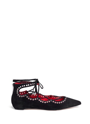 Main View - Click To Enlarge - PEDDER RED - 'Joey-Rock' eyelet suede lace-up skimmer flats