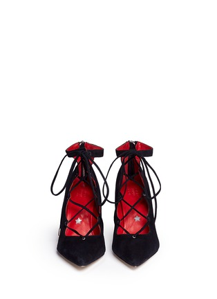 Figure View - Click To Enlarge - Pedder Red - 'Jess' suede lace-up pumps