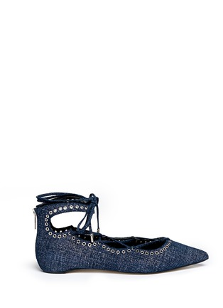 Main View - Click To Enlarge - Pedder Red - 'Joey-Rock' foil print suede lace-up skimmer flats