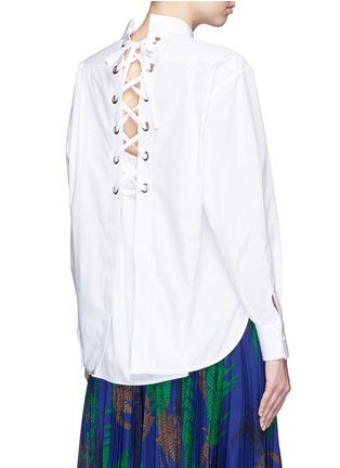 Back View - Click To Enlarge - Sacai - Lace-up back cotton poplin shirt