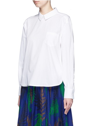 Front View - Click To Enlarge - Sacai - Lace-up back cotton poplin shirt