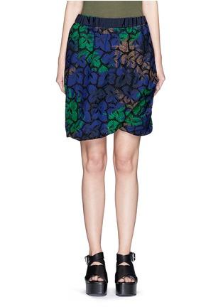 Main View - Click To Enlarge - Sacai - Floral print cutout guipure lace bubble shorts
