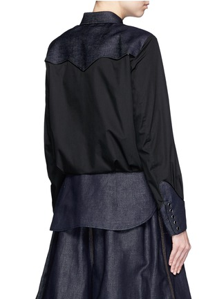 Back View - Click To Enlarge - Sacai - Western line cotton-linen denim peplum shirt