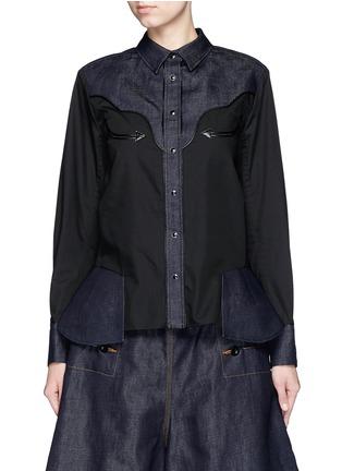 Main View - Click To Enlarge - Sacai - Western line cotton-linen denim peplum shirt