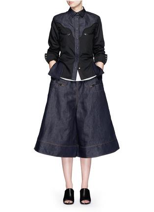 Figure View - Click To Enlarge - Sacai - Western line cotton-linen denim peplum shirt