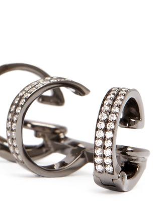 Detail View - Click To Enlarge - REPOSSI - 'Berbère' diamond black gold 3-hoop ear cuff