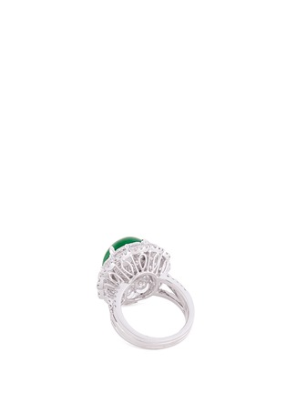 Detail View - Click To Enlarge - LC COLLECTION JEWELLERY - Diamond jade 18k gold scalloped ring