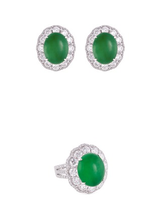 Main View - Click To Enlarge - LC COLLECTION JEWELLERY - Diamond jade 18k gold scalloped ring