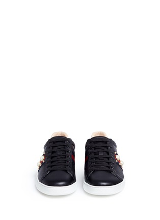 Front View - Click To Enlarge - Gucci - Signature web embellished leather sneakers