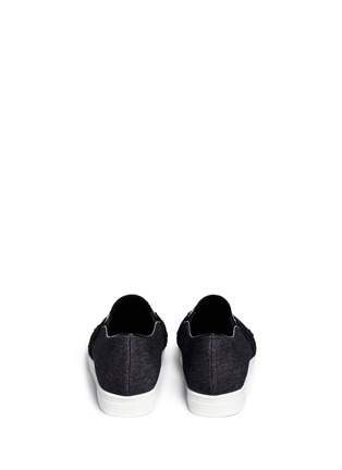 Back View - Click To Enlarge - Pedder Red - Chantilly lace denim skate slip-ons
