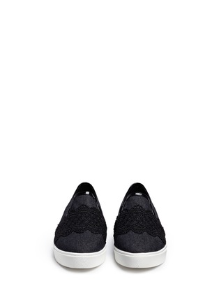 Front View - Click To Enlarge - Pedder Red - Chantilly lace denim skate slip-ons