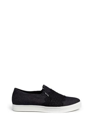 Main View - Click To Enlarge - Pedder Red - Chantilly lace denim skate slip-ons
