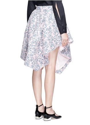 Back View - Click To Enlarge - Jourden - Floral jacquard chenille asymmetric duvet skirt