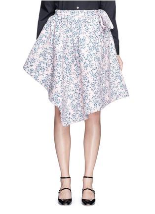 Main View - Click To Enlarge - Jourden - Floral jacquard chenille asymmetric duvet skirt