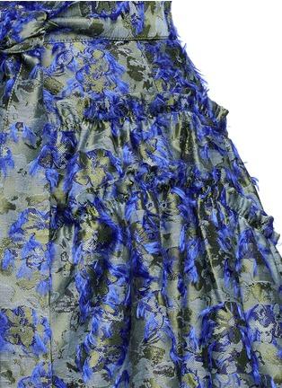 Detail View - Click To Enlarge - Jourden - Fil coupé fringe floral jacquard quilted skirt