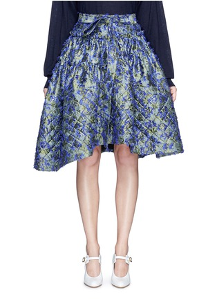 Main View - Click To Enlarge - Jourden - Fil coupé fringe floral jacquard quilted skirt