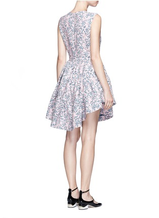 Back View - Click To Enlarge - Jourden - Floral jacquard gathered chenille dress