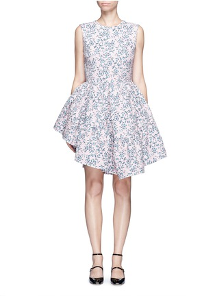 Main View - Click To Enlarge - Jourden - Floral jacquard gathered chenille dress
