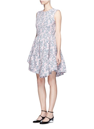 Figure View - Click To Enlarge - Jourden - Floral jacquard gathered chenille dress