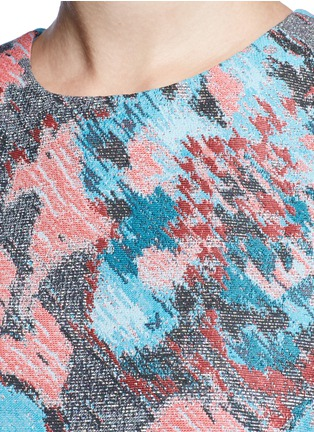Detail View - Click To Enlarge - Jourden - Hologram jacquard cutout ruffle dress