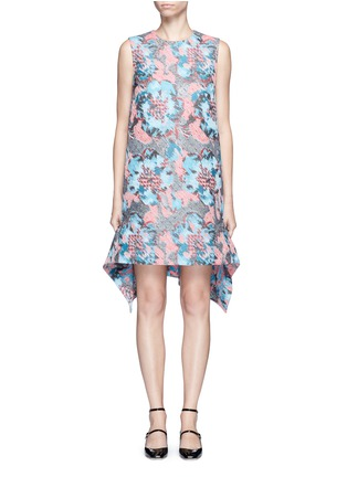 Main View - Click To Enlarge - Jourden - Hologram jacquard cutout ruffle dress