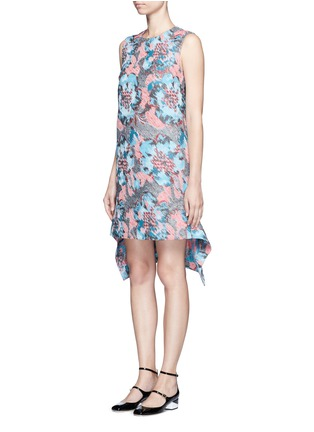 Figure View - Click To Enlarge - Jourden - Hologram jacquard cutout ruffle dress
