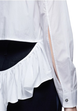 Detail View - Click To Enlarge - Jourden - Cutout ruffle cotton shirt