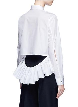 Back View - Click To Enlarge - Jourden - Cutout ruffle cotton shirt