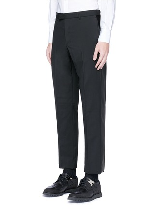 Front View - Click To Enlarge - Valentino - Leather stripe wool-Mohair pants