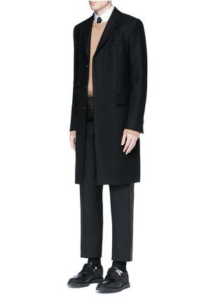 Figure View - Click To Enlarge - Valentino - Leather stripe wool-Mohair pants