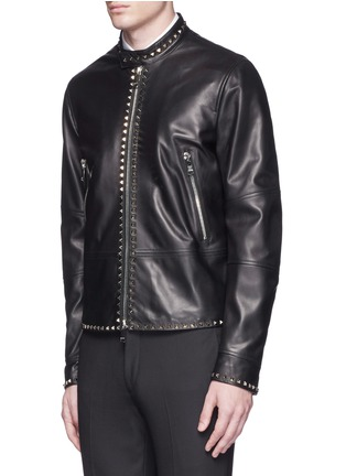 Front View - Click To Enlarge - VALENTINO - 'Rockstud Untitled 04' leather jacket