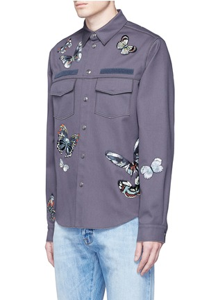 Front View - Click To Enlarge - Valentino - 'Camubutterfly' patch shirt jacket