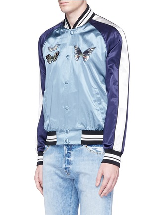 Front View - Click To Enlarge - Valentino - 'Camubutterfly' satin souvenir jacket
