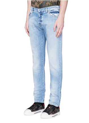 Front View - Click To Enlarge - Valentino - 'Rockstud Untitled 06' denim chinos