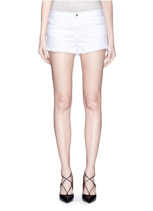 Detail View - Click To Enlarge - L'Agence - 'Zoé' frayed denim Le Vintage shorts