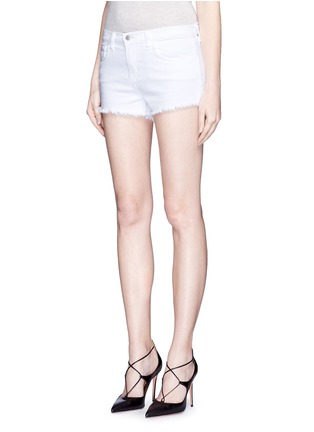 Front View - Click To Enlarge - L'AGENCE - 'Zoé' frayed denim Le Vintage shorts