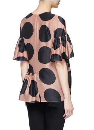 Back View - Click To Enlarge - Stella McCartney - Polka dot print pleated silk top