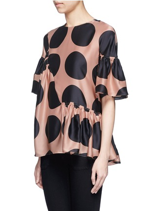 Front View - Click To Enlarge - Stella McCartney - Polka dot print pleated silk top
