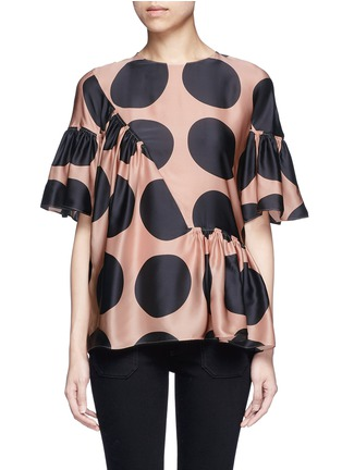 Main View - Click To Enlarge - Stella McCartney - Polka dot print pleated silk top