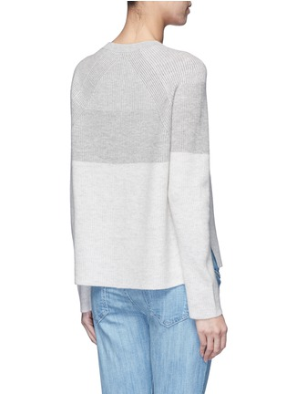 Back View - Click To Enlarge - VINCE - Colourblock rib wool-cashmere sweater