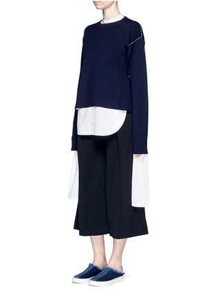 Figure View - Click To Enlarge - Ports 1961 - Extended sleeve cotton poplin shirt