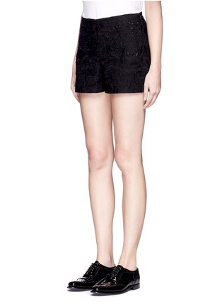 Front View - Click To Enlarge - Theory - 'Micro E' floral lace embroidery linen-cotton shorts