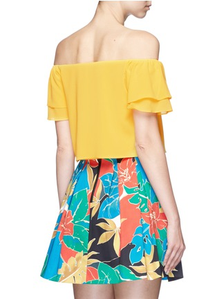 Back View - Click To Enlarge - alice + olivia - 'Whit' ruffle off-shoulder silk cropped top