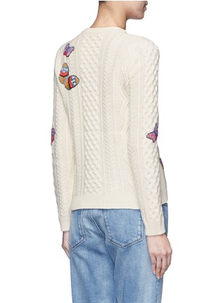 Back View - Click To Enlarge - Valentino - Embroidered butterfly mixed knit sweater