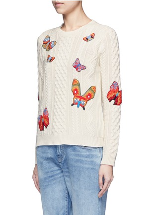 Front View - Click To Enlarge - Valentino - Embroidered butterfly mixed knit sweater