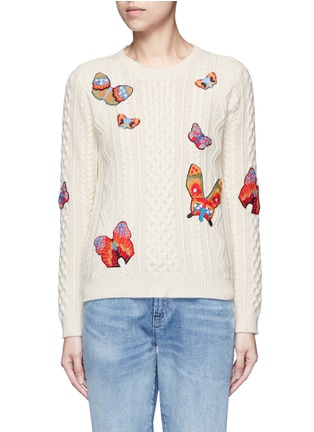 Main View - Click To Enlarge - Valentino - Embroidered butterfly mixed knit sweater
