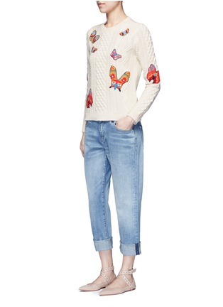 Figure View - Click To Enlarge - Valentino - Embroidered butterfly mixed knit sweater