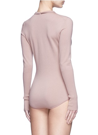 Back View - Click To Enlarge - Alaïa - Point collar wool blend knit bodysuit